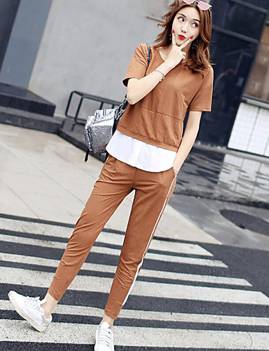 Women's Daily Casual Contemporary Summer T-shirt Pant Suits,Solid Round Neck Short Sleeve