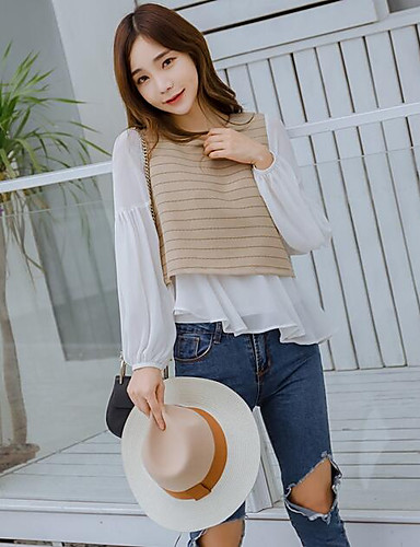 Women's Going out Casual/Daily Simple Spring T-shirt,Solid Striped Color Block Round Neck Long Sleeves Cotton