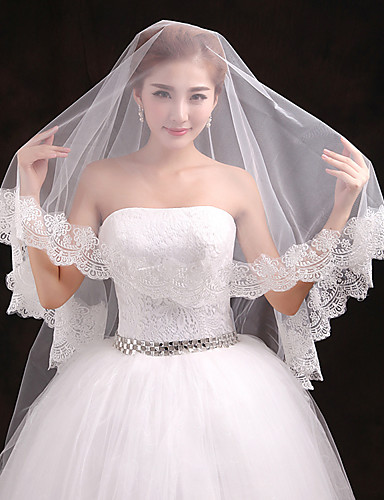 One-tier Lace Applique Edge Wedding Veil Cathedral Veils 53 Appliques Tulle