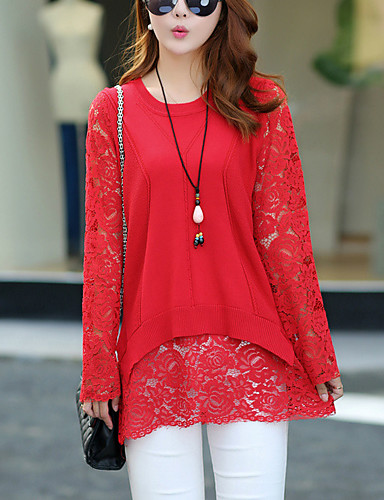 Women's Going out Street chic Long Sleeve Pullover - Solid Colored, Lace
