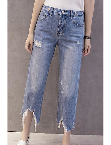 Women's Casual Bootcut / Straight Pants - Solid Colored / Jeans Ripped / Summer