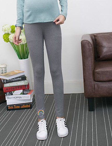 Women's Mid Rise Micro-elastic Skinny Pants,Simple Loose Solid Patchwork