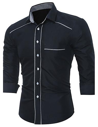 Homens Camisa Social - Final de semana Negócio Vintage Clássico Inovador Fashion Patchwork, Sólido Estampa Colorida Clássico Algodão