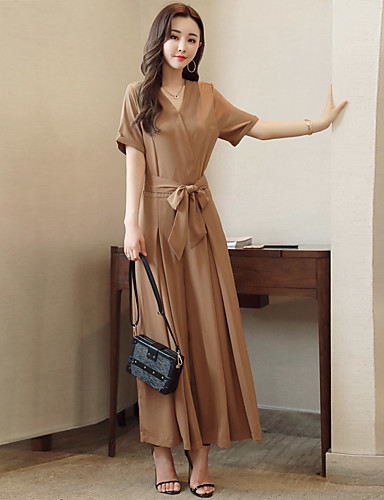 Women's Work Daily Casual Solid Colored V Neck Jumpsuits