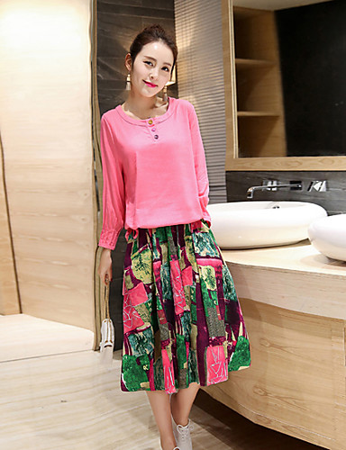 Women's Going out Street chic Spring T-shirt Skirt Suits,Solid Floral Round Neck Long Sleeve Chiffon Silk Micro-elastic
