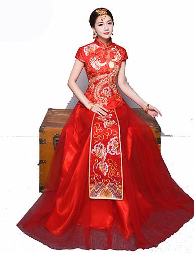 5ef71e1b34ae Νύφη Φορέματα Σύνολα Γυναικεία Γραμμή Α Ρούχο από μέσα Κινέζικο Στυλ  Κινεζική κόκκινο Cheongsam Πάρτι Αρραβώνων Πάρτι πριν το Γάμο Νέος Χρόνος  Γιορτές ...