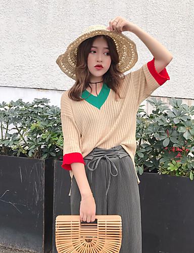 Women's Daily Regular Cardigan,Solid Round Neck Half Sleeves Wool Spring Summer Semi-opaque Micro-elastic