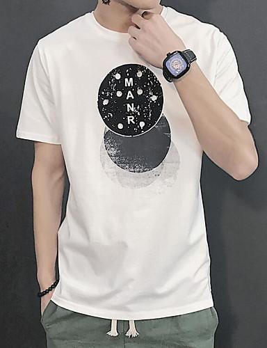 Miehet Lyhythihainen Pyöreä kaula-aukko Puuvilla Yksinkertainen Päivittäin Kausaliteetti T-paita,Painettu