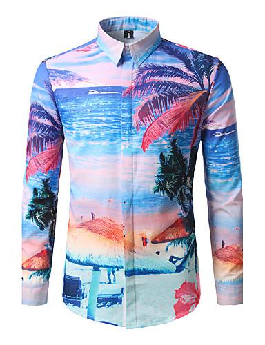 Men's Shirt Print Standing Collar