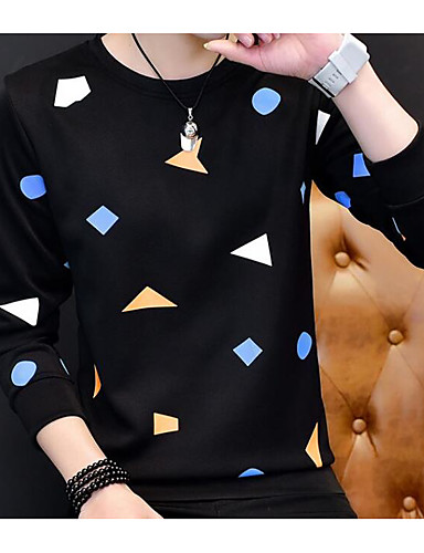 Men's Casual Sweatshirt Print Round Neck Inelastic Polyester Long Sleeve Spring