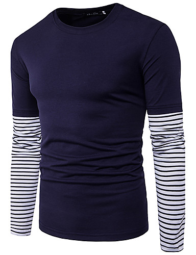 Men's Daily Chinoiserie T-shirt,Solid Round Neck Long Sleeves Cotton