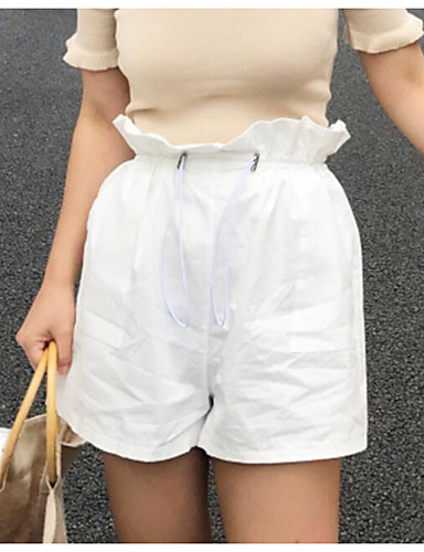 Women's High Waist Inelastic Shorts Pants,Cute Wide Leg Solid