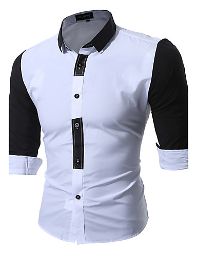 Men's Wedding / Party / Daily Boho / Chinoiserie Cotton / Polyester Shirt - Color Block Patchwork / Long Sleeve / Work / Club / Beach