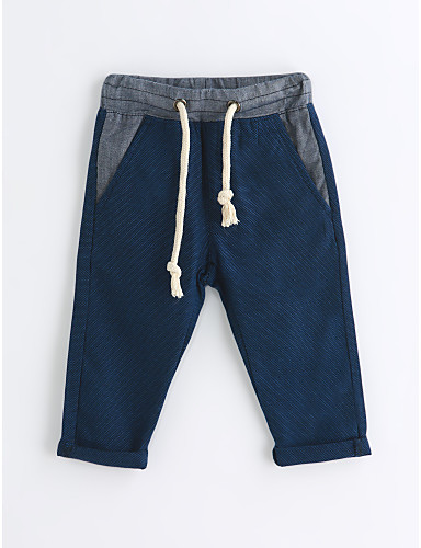 Boys' Solid Pants, Cotton Spring Fall Blue