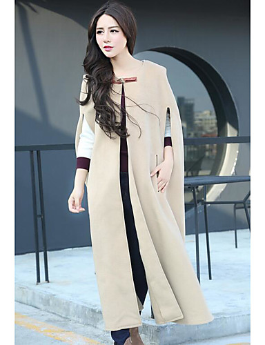 Women's Going out Casual Spring Fall Cloak/Capes,Solid Round Neck Sleeveless Regular Rayon