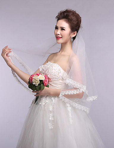 One-tier Lace Applique Edge Wedding Veil Elbow Veils 53 Appliques Tulle