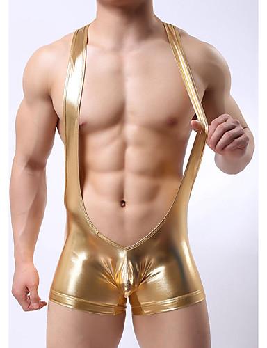 Men's Solid Shorties & Boyshorts Panties 1pc Gold Silver