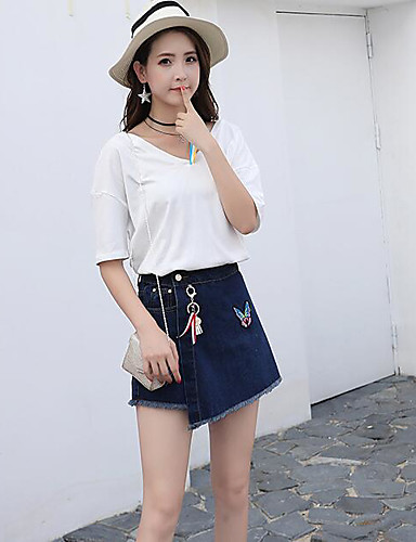Women's Daily Casual Casual Summer T-shirt Skirt Suits,Solid Print Color Block Round Neck 1/2 Length Sleeve Cotton Micro-elastic