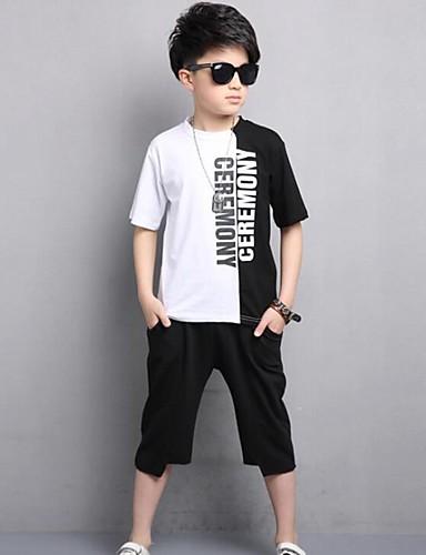 Boys' Color Block Print Sets,Cotton Summer Clothing Set