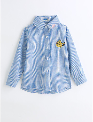 Boys' Stripes Shirt,Cotton Spring Fall Long Sleeve Blue