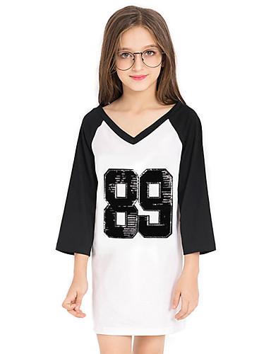 Tyttöjen Yhtenäinen väri Paljetti Patchwork T-paita Puuvilla Syksy Kesä Pitkä