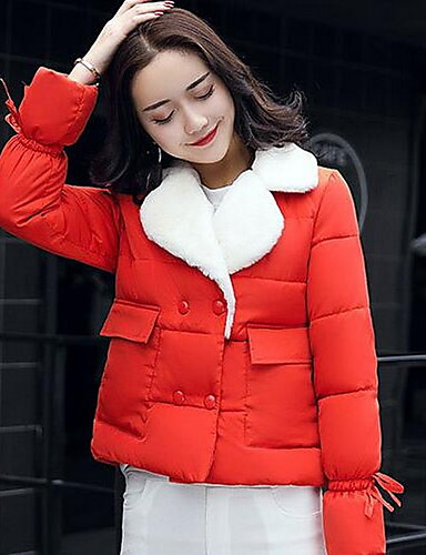 Women's Short Padded Coat,Casual Daily Solid-Cotton Polypropylene Long Sleeves