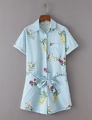 Women's Going out Daily Street chic Striped Floral Shirt Collar Rompers