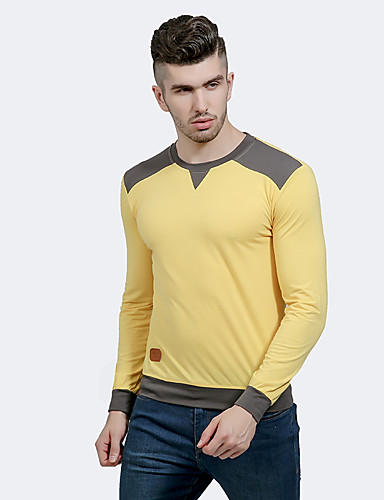 Men's Chinoiserie T-shirt - Color Block Round Neck / Long Sleeve