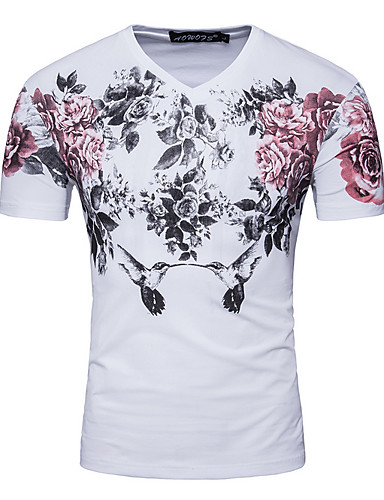 Men's Going out Simple T-shirt,Floral Round Neck Short Sleeves Cotton