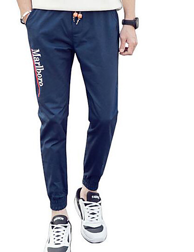 Men's Mid Rise Inelastic Skinny Pants,Simple Relaxed Letter & Number