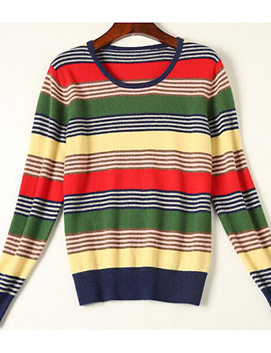 Women's Going out / Casual / Daily Simple / Vintage Long Sleeve Wool / Cotton / Polyester Pullover - Solid Colored / Striped / Print,