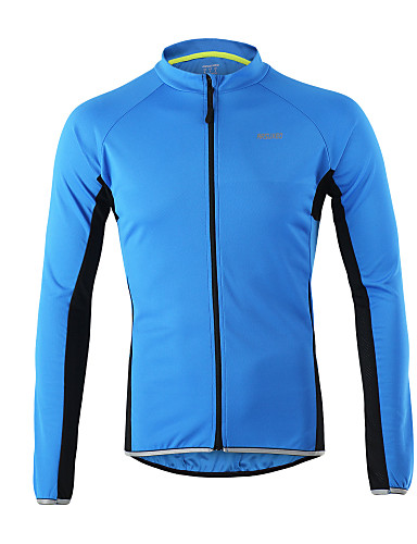cheap Cycling Clothing-Arsuxeo Men's Long Sleeve Cycling Jersey - Orange Light Yellow Gray Black Bike Jersey Top Reflective Strips Sports 100% Polyester Mountain Bike MTB Road Bike Cycling Clothing Apparel / Stretchy