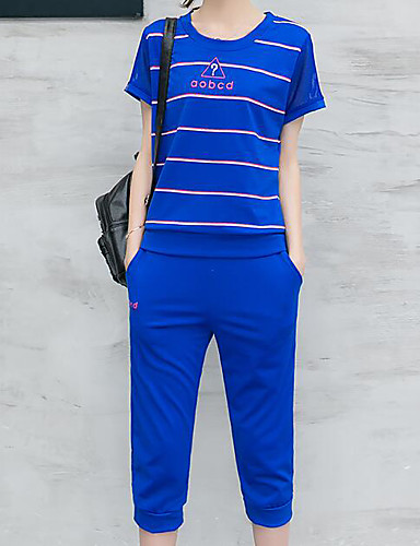 Women's Sports Active Summer T-shirt Pant Suits,Striped Round Neck Short Sleeve Micro-elastic