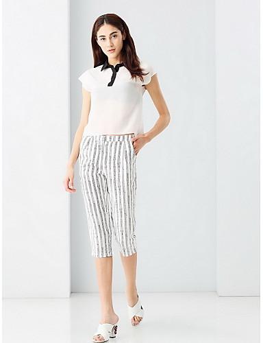Mikroelastisk Kortermet,Skjortekrage T-skjorte Bukse Drakter Stripet Sommer Søtt Ut på byen Dame