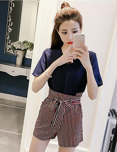 Women's Other Casual Casual Summer Blouse Pant Suits,Solid Striped V Neck Short Sleeve Chiffon