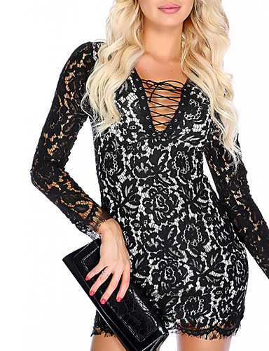 Women's Party Going out Club Sexy Bodycon Lace Dress,Print V Neck Mini Long Sleeve Polyester Summer High Rise Micro-elastic Medium