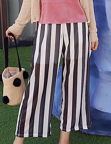 Women's Mid Rise Micro-elastic Wide Leg Pants,Simple Wide Leg Striped