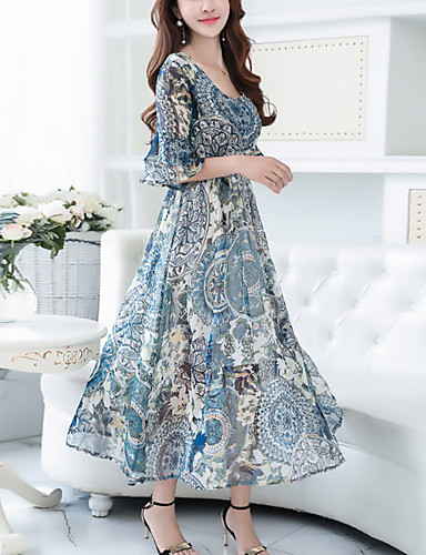 Women's Going out Street chic Flare Sleeve Chiffon / Swing Dress Print Maxi V Neck / Summer