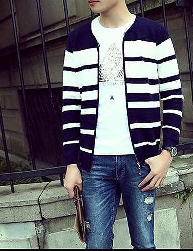 Men's Work Regular Cardigan,Striped Color Block Round Neck Long Sleeve Others Spring Fall Medium Micro-elastic