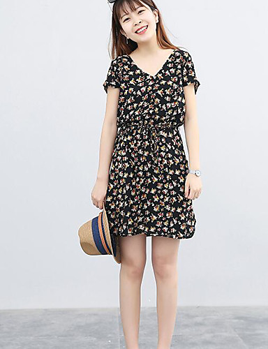 Women's Casual/Daily A Line Dress,Floral V Neck Knee-length Short Sleeves Cotton Polyester Summer Mid Rise Micro-elastic Medium