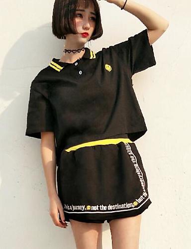 Women's Daily Modern/Contemporary Summer T-shirt Skirt Suits,Print Letter Shirt Collar Short Sleeve Polyster
