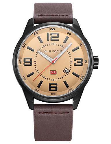 Men's Dress Watch Fashion Watch Quartz Genuine Leather Band Black Blue Brown