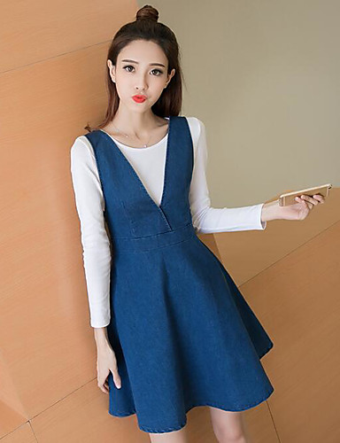 Women's Going out Casual Spring T-shirt Skirt Suits,Solid Round Neck Long Sleeve Cotton Inelastic