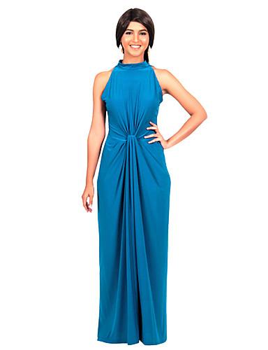 Női Extra méret Pamut Bodycon Ruha - Kivágott, Egyszínű Teljes hossz Terített nyak Kék