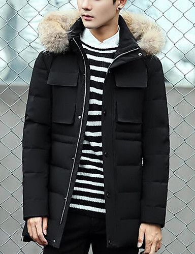 Men's Long Down Coat,Simple Casual/Daily Solid-Others White Duck Down Long Sleeve