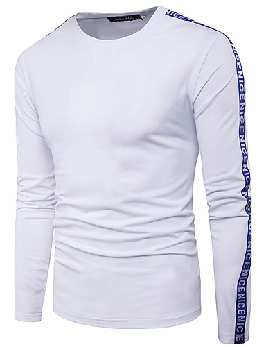 Herren Buchstabe Street Schick Lässig/Alltäglich T-shirt,Rundhalsausschnitt Langarm Polyester