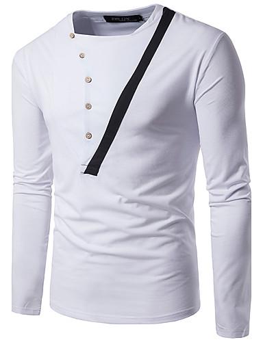 Herren Einfarbig Street Schick Lässig/Alltäglich T-shirt,Quadratischer Ausschnitt Langarm Polyester