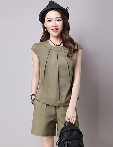 Women's Casual Casual Summer T-shirt Pant Suits,Solid Round Neck Sleeveless Cotton/nylon with a hint of stretch Micro-elastic