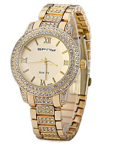 Women's Quartz Wrist Watch Chinese Imitation Diamond Metal Band Sparkle Simulated Diamond Watch Unique Creative Watch Fashion Gold