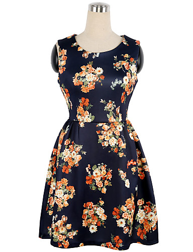 Women's Going out Vintage / Casual / Chinoiserie A Line / Sheath Dress - Floral Flower High Rise / Summer